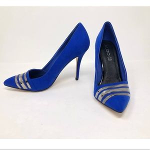Aldo Pump Heel Leather Faux Suede Royal Blue